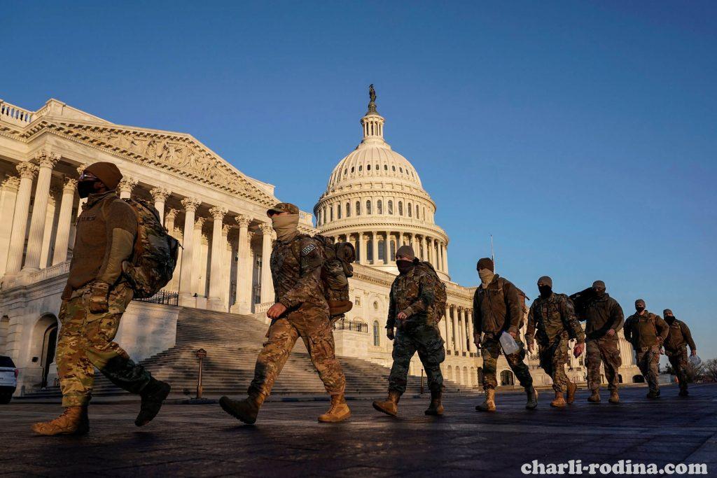 US tightens รัฐสภาของสหรัฐฯเมื่อวันศุกร์ขณะที่ทหารรักษาความปลอดภัยแห่งชาติหลายพันคนยืนเฝ้าดู สะพานที่ทอดเข้าสู่ตัวเมืองจะปิด
